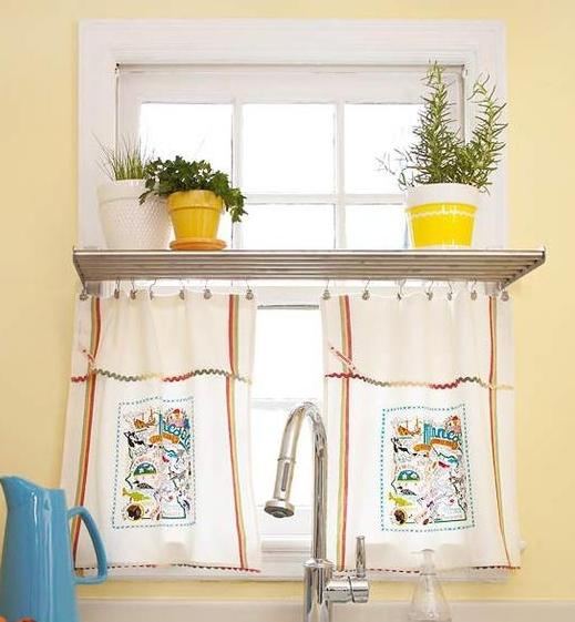 Шторы из кухонных полотенец