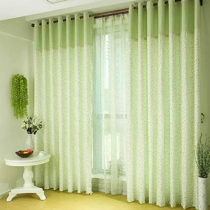 Зеленый цвет штор в интерьере