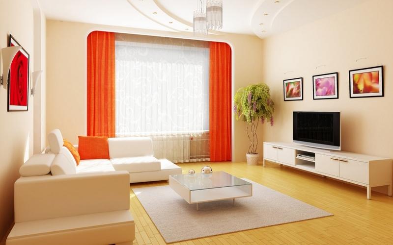 Оранжевый цвет штор в интерьере