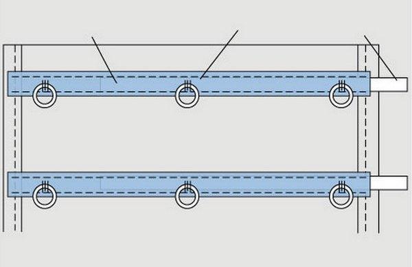 Линии складок и места пришиваемых колец