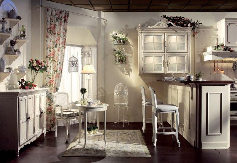 Штора для кухни в стиле прованс