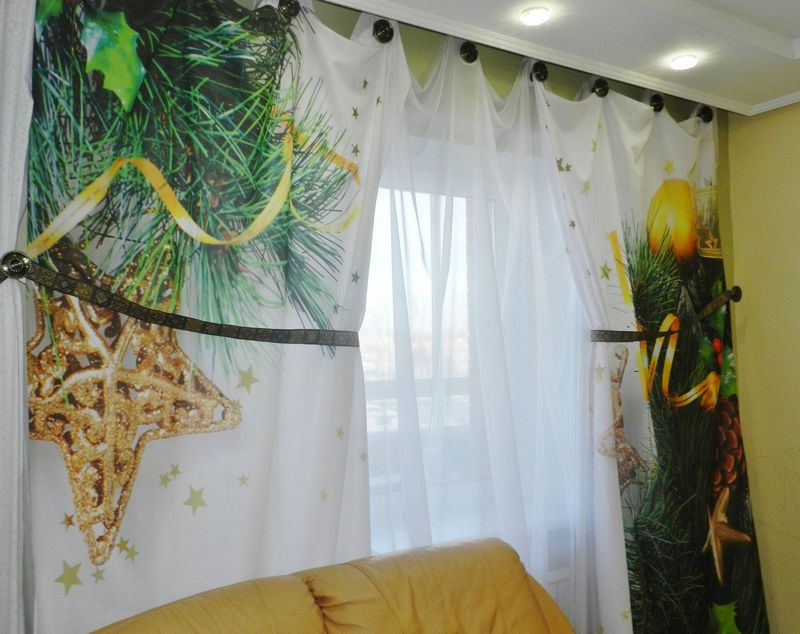Красивые Новогодние шторы для спальни