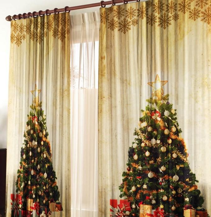 Шторы в Новогодние праздники для гостинной