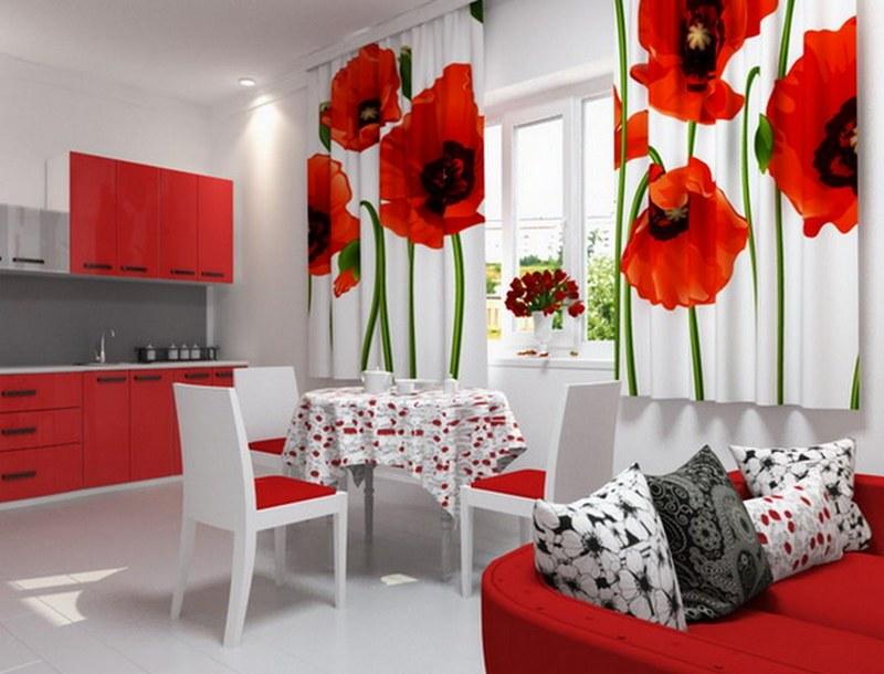 Красивые шторы к интерьеру кухни