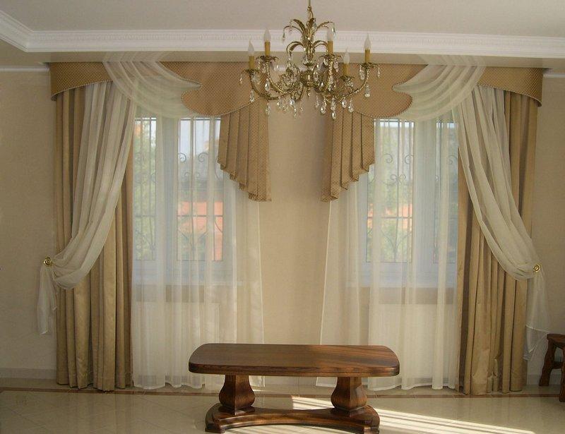 Шторы для гостинной в классическом виде