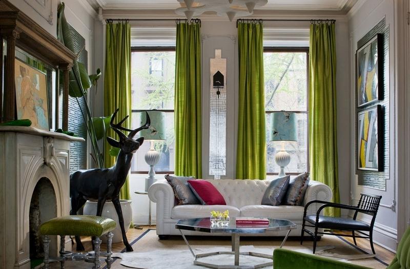 Оливковые шторы с каждым днем становятся популярнее, благодаря своей свежести